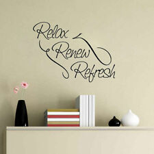 Wall Sticker Relax Refresh Revive Quote Art Decal Bedroom Bathroom Beauty Salon