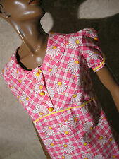 CHIC VINTAGE ROBE COTON POP 1970 VTG DRESS 70s KLEID 70er ABITO ANNI 70 (36/38)