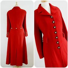 VINTAGE MANSFIELD RIDING COAT VICTORIAN 40s MILITARY RED cashmere 16 18