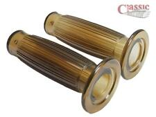 Retro style gel brown 7/8'' motorcycle twist grips