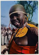 East Africa FRAU m SCHMUCK Marakwet WOMAN w JEWELRY Kenya * 60s Ethnic Nude PC