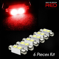 Ultra Red 2W BRIGHT LED MAP/DOME INTERIOR LIGHTS Bulbs 36MM FESTOON (6 Pack)