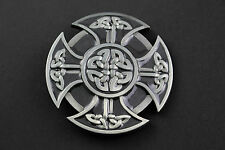 BLACK GREY CELTIC KNOTS  SHIELD  METAL BELT BUCKLE  SCOTTISH GAELIC