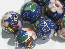 High Quality Vintage BIG  14 MM Cloisonne Beads Round BLUE w/ Flowers 24 Pcs!