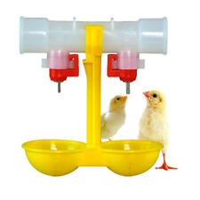 Automatic Poultry Feed Water Bird Coop Chicken Fowl Double 2-Head Drinker Cup