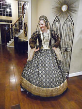 Renaissance Dress Tudor Anna Boleyn cosplay Costume Ball exotic royal gown sz 18