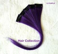 "Purple - 12"" Human Hair Clip On In Extensions for Highlights (5pcs)"