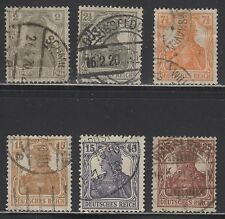 GERMANY #96-101   SET (6) GERMANIA     WHITE BACKGROUND    1916   USED