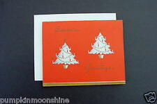 # I 333- Vintage Xmas Greeting Card Pretty Gold Embossed Holiday Trees