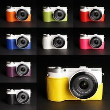 Handmade Real Leather Half Case Camera Case bag for Samsung NX300 10 colors
