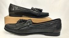 Santoni Vero Cuoio Mens 9.5 Black Tassel Loafers Dress Shoes Made in Italy