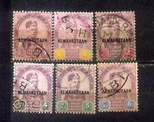 """1896 Malaysia Malaya Johore Sultan Abu Bakar ovpt """"Kemahkotaan"""" 1c to 6c.CVRm88"""