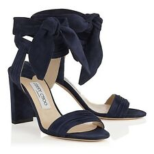 New In Box Jimmy Choo 'Kora' 100mm Navy Blue Suede Strappy Sandals 37/7 $795.00