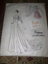 1950 VOGUE COUTURIER DESIGN #545-LADIES BRIDAL~BALL ROOM GOWN PATTERN 14 w/LABEL