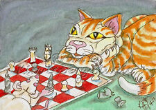 Cat Mouse Chess Game aceo Print EBSQ Kim Loberg Animal Art rodent Kitty Rat sfa
