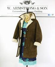 Women's VINTAGE 70s Brown REAL SHEEPSKIN SHEARLING Cosy Boho Hippy Jacket Coat L