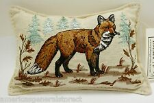 """BALSAM FIR PILLOW 3""""x5"""" EMBROIDERED RED FOX SCENE pine sachet scent lodge style"""