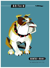 PRINT POSTER  qantas vintage art  photo dog uk Australia Fits A0 Glass  Frame