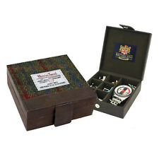 Harris Tweed Green and Red Tartan and Leather Trinket Box For Watch Cufflinks