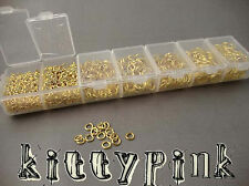 1780 Assorted Gold Plated Jumprings Open Jump Rings Storage Box 3,4,5,6,7,8,9mm