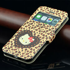 for iPhone 6 6S - BROWN HELLO KITTY LEOPARD Leather Card Wallet Pouch Case Cover