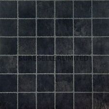 100 x BLACK SQUARES SELF ADHESIVE STICK ON VINYL FLOORING FLOOR TILES KITCHEN