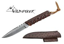 WILDSTEER 108 CARBON DSC DAMASCUS KNIFE BROWN LEATHER WRAPPED ARCHERY SPORT