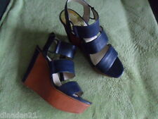 Vince Camuto women's heels/ wedges, size 5, blue, leather, brand new