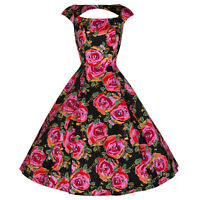PRETTY KITTY BLACK FLORAL PINK ROSE PROM ROCKABILLY COCKTAIL SWING DRESS 8-18
