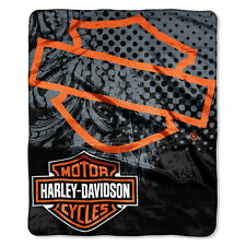 Harley-Davidson Motorcycles Blanket Throw - 60x80 Plush - Motor Patch Design