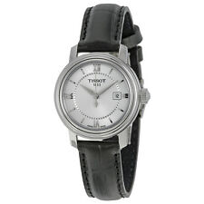 Tissot Bridgeport Quartz Silver Dial Black Leather Ladies Watch T0970101603800