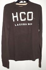 HOLLISTER Brown Long Sleeve Heavyweight T Shirt Size M Medium 100% cotton