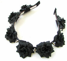 Black Rose Silver Spike Flower Headband Halloween Sugar Skull Pastel Goth 675