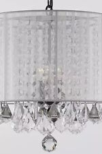 Crystal Pendant Lamp Light Drum Shade Chandelier /Fabric Withe, Silver-Free Ship