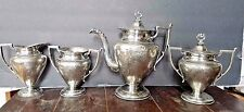 Antique Siverplate Tea Set 5-piece Forbes Silver Co Quadruple Plate pattern 188