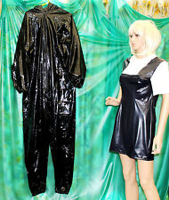 One piece overalls playsuit size XL shiny black pvc vinyl zip front hooded