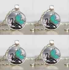 Vintage Dragon Cabochon Tibetan silver Glass Chain Pendant Necklace New H