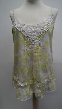 Dorothy Perkins Yellow and Green Floral Cotton Vest Top size 14