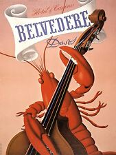 ART PRINT POSTER ADVERT BELVEDERE HOTEL CASINO LOBSTER CELLO DAVOS NOFL1555