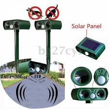 Solar Powered Dual Ultrasonic Garden Animal Cat Dog Repeller Repellent Control