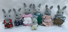 Sylvanian Families CELEBRATION GREY RABBIT FAMILY OF 7 BABBLEBROOK with clothes