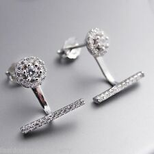 Bar Ear Jacket Earrings - 925 Sterling Silver - Stud Post Cubic Zirconia NEW CZ