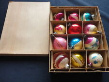 "12 VINTAGE XMAS Ornament Glass  Made in Poland in BOX 2 - 2 1/2""size"
