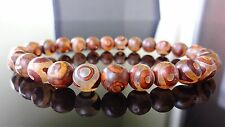 "Genuine Tibetan Agate Stone Bead Bracelet for Men (On Stretch) 8mm - 8"" inch"