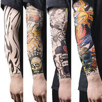 1~14pcs Nylon Fake Temporary Tattoo Sleeve Arm Stockings Tatoo For Men Women tbu