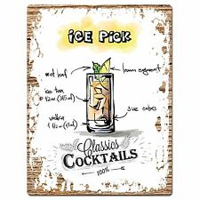 PP0680 Cocktails Ice Pick Chic Plate Sign Home Bar Store Cafe Pub Decor