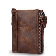 Genuine Crazy Horse Cowhide Leather Men Wallet Short Coin Purse Small Vintage