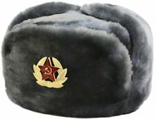 Russian Winter Military Hat Ushanka with Soviet Emblem, Gray, Size MD