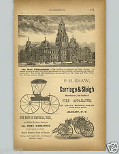 1878 PAPER AD P H Shaw Carriage & Sleigh Fire Engines Hose Cart Truck Albany NY