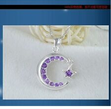 """18"""" Chain Sterling silver pendant star and moon with zircon amethyst gift box A7"""